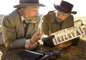 Movie still from Django Unchained, with Jamie Foxx and Christoph Waltz