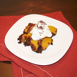 Easy, tasty chocolate dessert: baked chocolate peach mousse