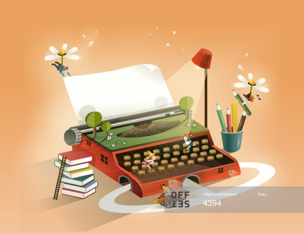 books leading up to typewriter, nature too, illustration by Ivary on Offset.com
