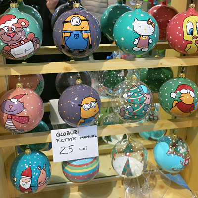 Christmas tree ornaments and many kinds of Christmas gifts at Dalles in Bucharest