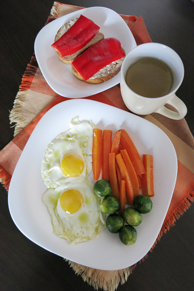 Sunny-side ups, carrots, Brussels sprouts and other good stuff for breakfast