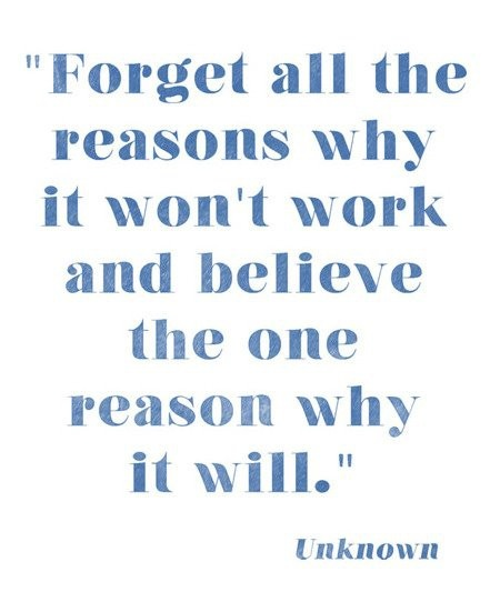 Forget all the reasons why it won't work and believe the one reason why it will. -- inspirational quote about following your dreams