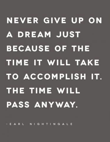 inspirational quote about following your dreams: Don't give up on your dreams. The time will pass anyway.