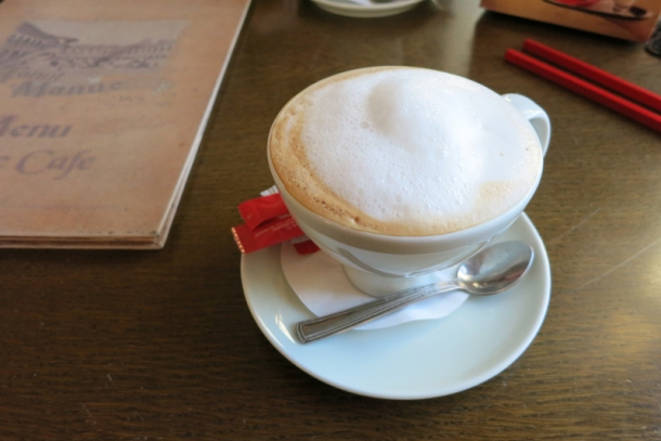 A Julius Meinl cappuccino I paid for with an Emily Dickinson poem (Julius Meinl celebrated World Poetry Day on March 21, 2014