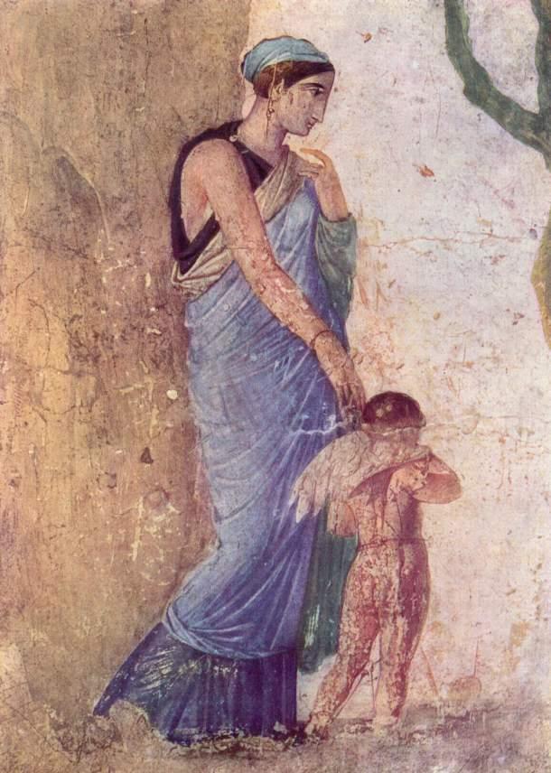 Venus and Cupid (Pompeii fresco). Venus dressed in blue